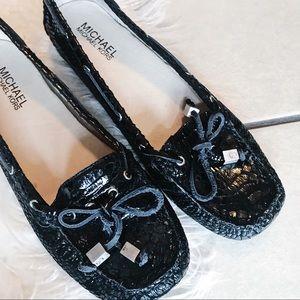 MICHAEL KORS | Crocodile Flats Loafers Black Shoes